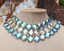 CZECH GLASS NECKLACE Huge Big Faceted Black Tie Jewelry Champagne Turquoise Hues