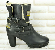 MANAS Black Leather Womens Ankle Boots Heeled Shoes Made Italy Size 7 UK 40 EU