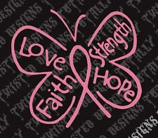 Breast cancer awareness butterfly car vinyl decal sticker pink love faith hope