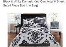 Black & White Damask Comforter & Sheet Set (8 Piece Bed in a Bag)