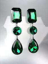 GLITZY Emerald Green Czech Crystals LONG Bridal Queen Pageant Prom Earrings