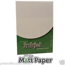 10  x A4 Self Adhesive Inkjet Matt White Paper Sticker Art Sheets Ink Jet