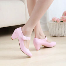 Hot Sale Womens Round Toe Low Heel Mary Jane Ankle Strap Cute Girl Shoes Plus Sz
