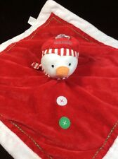 Carters My 1st Christmas Snowman Red White Baby Security Blanket Lovey Rattle