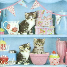4x Single Table Party Paper Napkins for Decoupage Decopatch Cats in the Kitchen