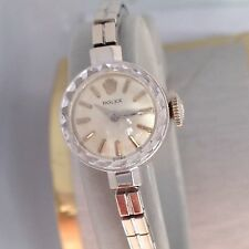 Nice 14K White Gold Rolex 17J Ladies Manual Wristwatch w/ 14K Band