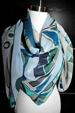 "NEW $525 EMILIO PUCCI Nefertiti 100% Silk Blue Scarf Shawl Pareo 52""sq"