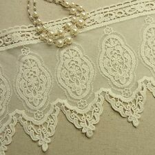 Vintage Style Embroidered Tulle Lace Trim Double Edged Fabric Flower 15.5cm Wide