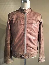 STRELLSON DISTRESSED LAMBSKIN LEATHER CAFE RACER JACKET SIZE SMALL RRP £599