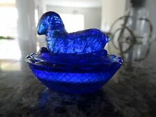 Cobalt Blue Mini Art Glass SHEEP on a Nest Covered Salt DIP