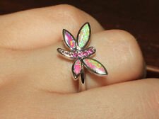 fire opal topaz ring gems silver jewelry Sz 6.25 7.5 Dragonfly engagement band