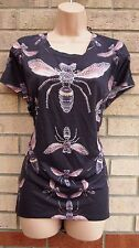 NEW LOOK DARK GREY PINK FLY INSECT BEADED BAGGY BLOUSE TUNIC TOP VEST CAMI 20 22