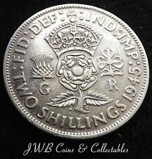 1945 George VI .500 Silver Florin / Two Shillings Coin (Cleaned)