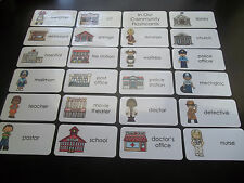 23 Our Community Flash Cards.  Educational learning activity for children.