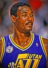 Karl Malone 1 of 49 Art Card Limited Edition Artist Autograph Jazz