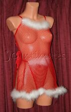Plus Lingerie-Sexy Fishnet Baby Doll With Side Slit Baby Doll-Red(1X)