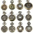 Vintage Men Lady Bronze Antique Hollow Pocket Watch Necklace Pendant Chain Retro