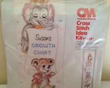 New Columbia Minerva Animal Growth Chart Cross Stitch Kit #6787 Sealed 1978