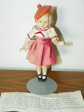 "Rare Vintage 7"" Japan Bisque Doll Hair French Style Beret Jointed             I8"