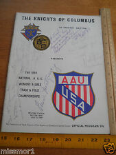 1969 National AAU Women's Track and Field program signed by Olympians