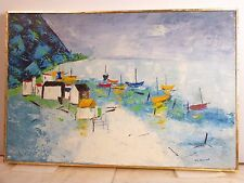 Vintage ABSTRACT MODERNIST SEASCAPE OIL PAINTING MID CENTURY Modern Signed