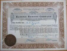Medical/Quack Drug 1917 Stock Certificate - 'Eatonic Remedy Company'