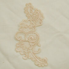 2 Embroidery Corded Bridal Organza Lace Applique Motif Light Champagne - 18cm