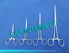 HEMOSTATS / LOCKING FORCEPS 4 Piece Straight Set - Stainless Steel NEW