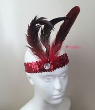 RED SEQUIN FEATHER HEADBAND 1920S FANCY DRESS CHARLESTON BROW BAND FLAPPER