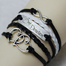 DIY Infinity One direction Heart Leather Charm Bracelet Silver Black White Rope