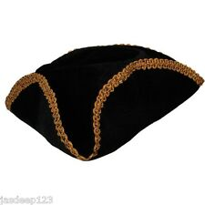 Dick Turpin Black Pirate Hat Gold Trimmed Tricorn Felt Fancy Dress Accessory Fun