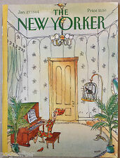 COVER ONLY The New Yorker magazine ~ January 23 1984 ~ George Booth ~ Piano Bird