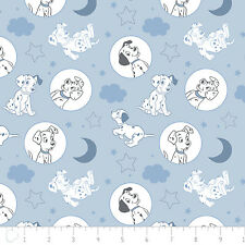 Disney 101 Dalmatians Dog Time for Bed Light Blue 100% Cotton fabric by the yard