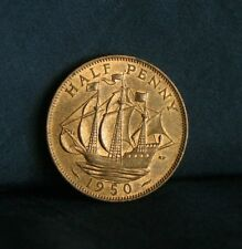 Great Britain 1/2 Penny 1950 Bronze Unc World Coin England UK English Boat Ship
