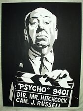 Canvas Painting Alfred Hitchcock Psycho Director B&W Art 16x12 inch Acrylic