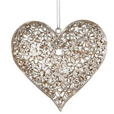Sass and Belle Silver Daisy Vintage Style Hanging Heart Metal hanging decoration