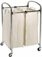 Chrome Rolling 2 Bag Laundry Sorter Cart Canvas Bins Clothes Wash Sort Washable