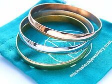 Stainless Steel Modern Women Bangle Set 3pcs Bracelet Gold, Rose Gold, Silver