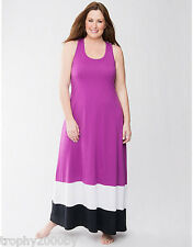 NEW CACIQUE BY LANE BRYANT SLEEP COLORBLOCK MAXI LOUNGER DRESS SZ 22/24