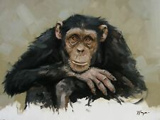 Original Oil painting - wildlife art - chimpanzee portrait  by UK artist j payne