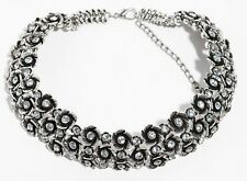Genuine Silver Flower Crystal Choker Round Zara Bib Statement Necklace N285
