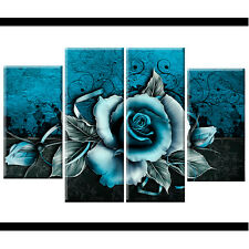 Abstract Teal Rose Floral Canvas Wall Art Pictures Wide XL Print Flower Gift Big