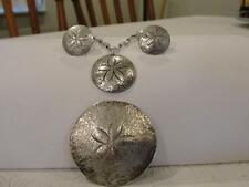 Vintage CLIFFORD RUSSELL Sterling- Sand Dollar Necklace,Brooch & Earring set