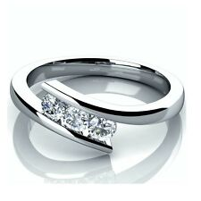 0.30Ct Tension Set 3 Diamond Trilogy Engagement Ring Crafted in White Gold  .