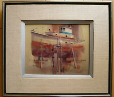 Ritchie A. Benson - LISTED CALIF CA California Watercolor BOAT HARBOR MODERN
