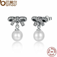 Bamoer Solid Retro S925 Sterling Silver Bow Earrings Pearl with Clear CZ Jewelry