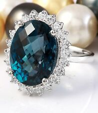 12.06 CTW Natural London Blue Topaz and Diamonds in 14K White Gold Ring