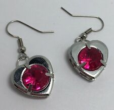 Hot Pink Heart Earrings Faceted Acrylic Stones Hooks E037 Valentines Love