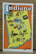 ORIGINAL VINTAGE TRAVEL DECAL INDIANA INDY 500 RACING NOTRE DAME MAP RV OLD AUTO