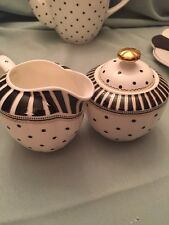 2pc.Grace TeaWare Creamer &Covered Sugar Bowl all w/ Black And Withe And Gold-ne